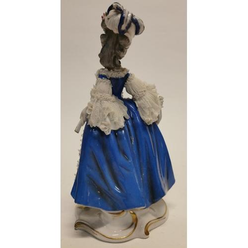 60 - German ceramic figure of a Lady in blue. {24 cm H}....