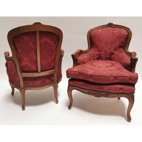 8 - Pair of Edwardian walnut and upholstered armchairs {86 cm H x 63 cm W x 68 cm D}....