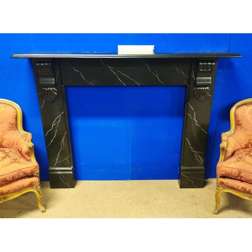 9 - 19th. C. marbleised slate fireplace - fully restored {120 cm H x 159 cm W x 28 cm D}....