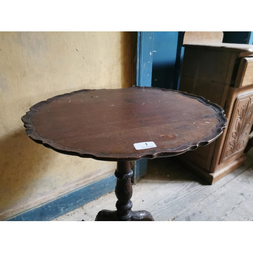 1 - 19th. C. mahogany wine table, the scalloped top raised on turned column and three outswept feet. {63...