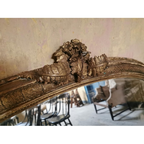 10 - 19th. C. gilt overmantle surmounted with ferns. {75 cm H x 114 cm W}....