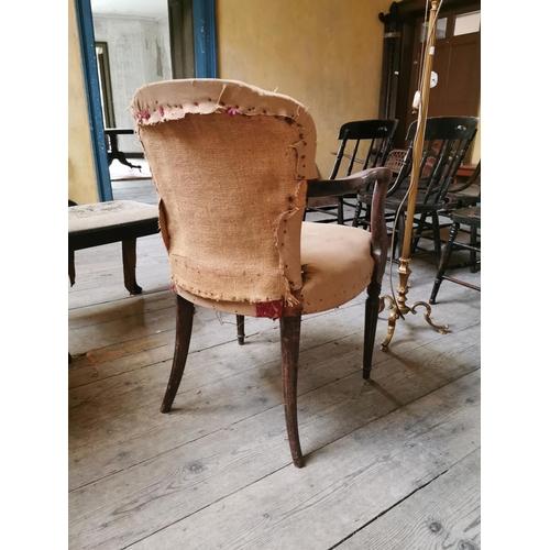 14 - Georgian upholstered mahogany Ladies Chair. {85 cm H x 55 cm W x 60 cm D}....