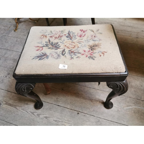 15 - 19th. C. upholstered music seat raised on pad feet in the Georgian style. {45 cm H x 65 cm W}....