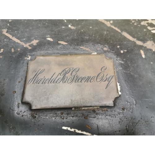 17 - Harold Greene Esq metal military trunk by Cowan Dublin. {33 cm H x 61 cm L x 31 cm D}...