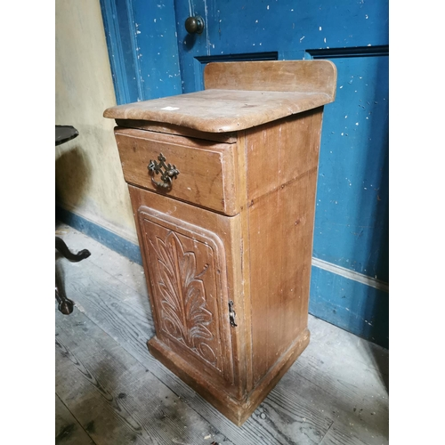 2 - Stripped pine locker the single drawer above a single door. {82 cm H x 40 cm W x 38 cm D}....