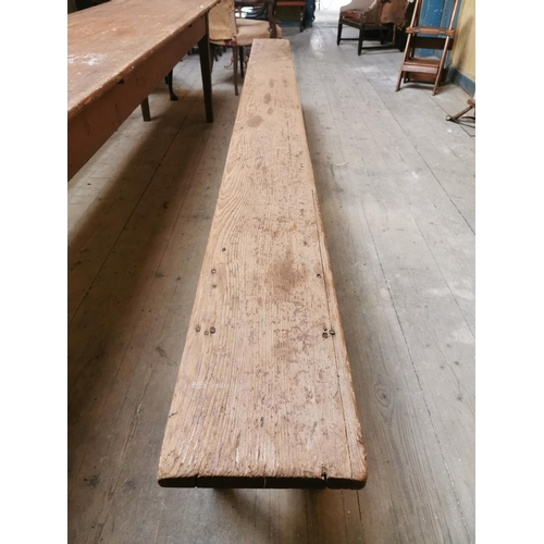 21 - Pair of painted pine benches raised on tapered legs. {48 cm H x 300 cm L x 24 cm D}....