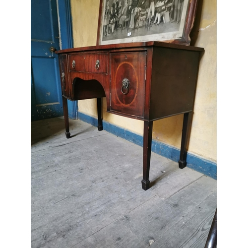 26 - Georgian inlaid mahogany bowfronted table with drawer in frieze flanked by two doors. {86 cm H x 122...