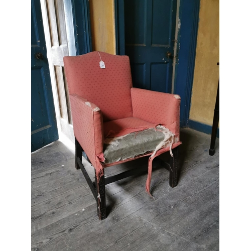 27 - Georgian upholstered mahogany armchair in the Chippendale style. {67 cm H x 60 cm W x 54 cm D}....