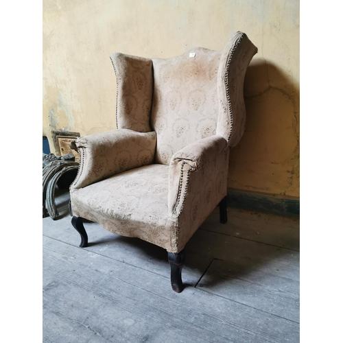 28 - 19th. C. upholstered mahogany wingback armchair. {98 cm H x 83 cm W x 74 cm D}....