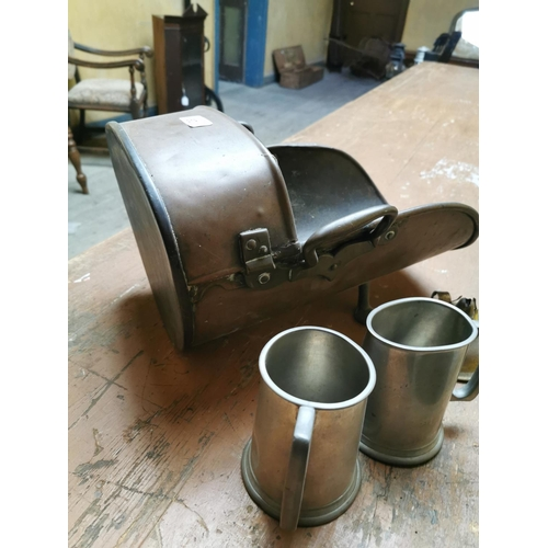 29 - Coal Scuttle, two pewter tankards and brass table lamp....