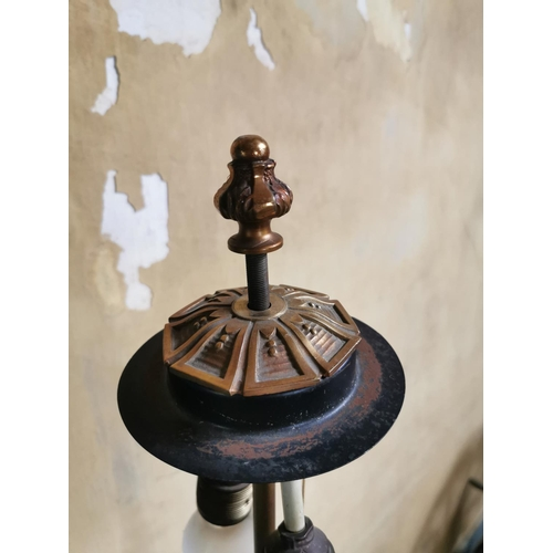 37 - Brass standard lamp. {170 cm H}....