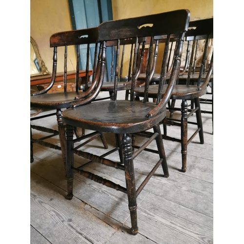 38 - Set of six early 20th. C. and elm spindle backed chairs. {83 cm H x 42 cm W}....