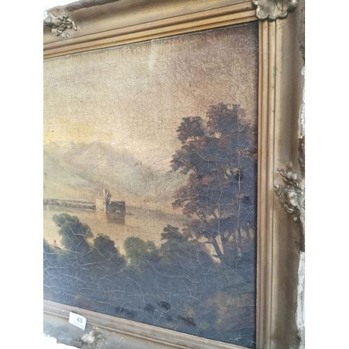 40 - 18th. C. Oil on Canvas Castle in distance. {55 cm H x 65 cm L}....