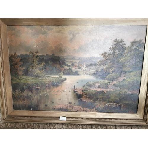 41 - 19th. C Oil on Canvas Fishing Scene, {78 cm H x 100 cm W}...