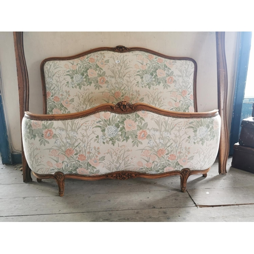 48 - Early 20th. C. upholstered bed. {123 cm H x 150 cm W}....