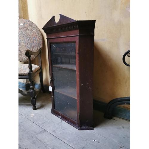 5 - Pine corner cupboard with single glazed door.  {82 cm H...