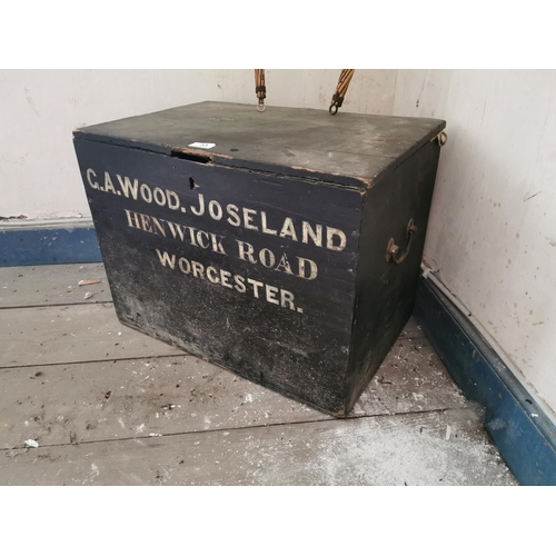 53 - 19th. C. Painted pine travel box G A WOODS JOSELAND. {43 cm H x 55 cm W x 39 cm D}....