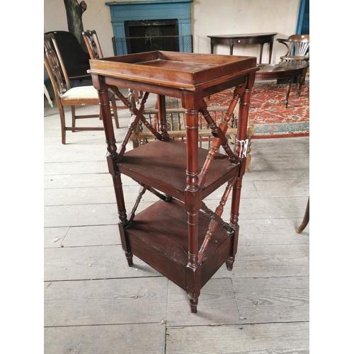 55 - 19th C.  mahogany three tier whatnot raisedd on four turned legs. {94 cm h x 44 cm W x 33 cm D}....