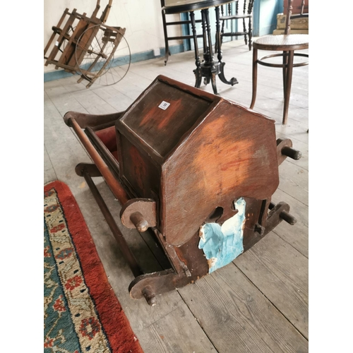 58 - 19th. C.  Mahogany child's cradle. {60 cm H x 91 cm L x 54 cm W}....