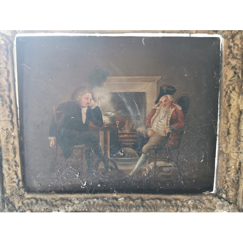 61 - Framed picture of two Gentlemen by the Fire. { 48 cm H x 52 cm W}...