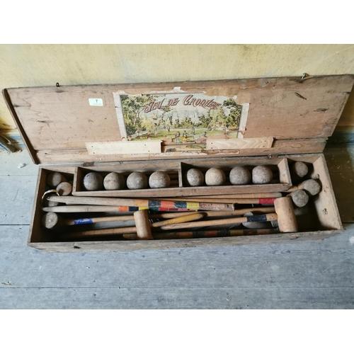 7 - Croquet set  in case. { 19cm H X 101cm L X 18cm D }....