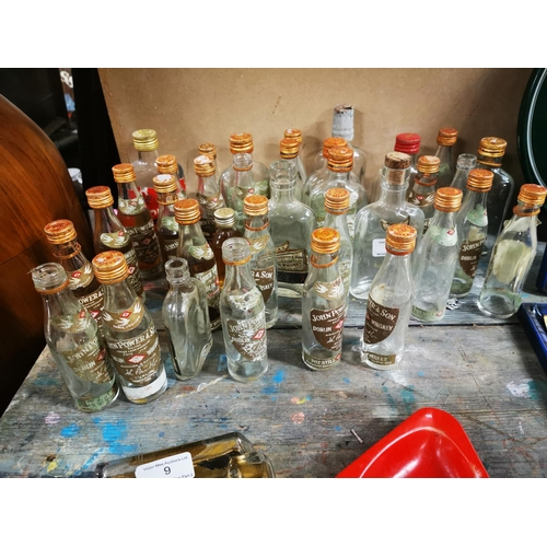 10 - Collection of Baby Power Whiskey bottles  - some with contents....