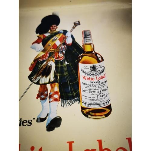 15 - White Label Dewar's Scotch Whiskey drink's advertising tray. { 34cm Sq. }...
