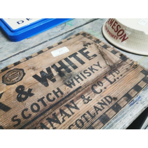 23 - Black and White Scotch Whiskey James Buchanan wooden advertisement. { 21cm H X 43cm W }....