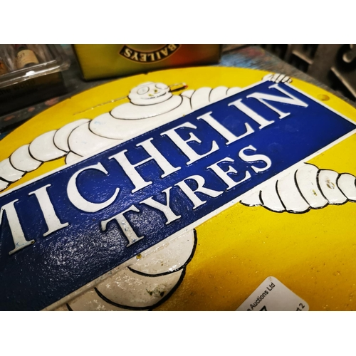 37 - Michelin Tyres cast iron advertising sign. { 26cm H X 29cm W }....