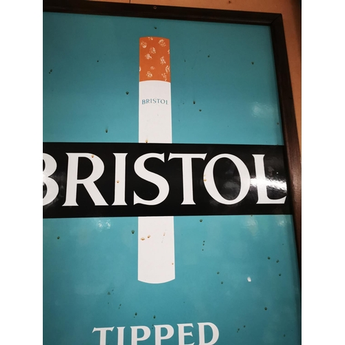 41 - Bristol Blue Tipped Cigarettes enamel advertising sign. { 93cm H X 63cm W }....