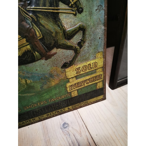 52 - Rare early 20th C. tin plate embossed Gallaher's War Horse advertising sign {51 cm H x 36 cm W}....