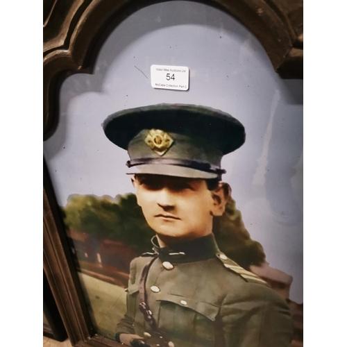 54 - General Michael Collins framed coloured print. { 71cm H X 51 cm W }....