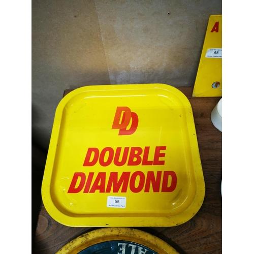 55 - Two Double Diamond advertising tinplate trays .  { 33cm Sq. }....
