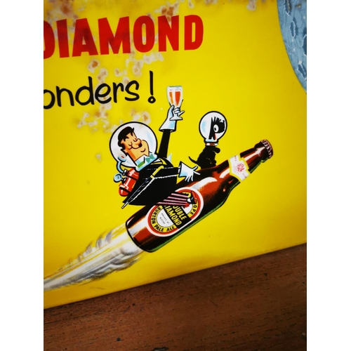 58 - 1950's A Double Diamond Works Wonders celluloid advertising showcard. { 19cm H X 38cm W }....