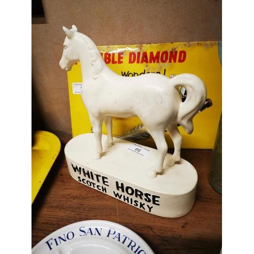 59 - White Horse Scotch Whiskey ceramic advertising horse. { 22cm H X 21cm W }....