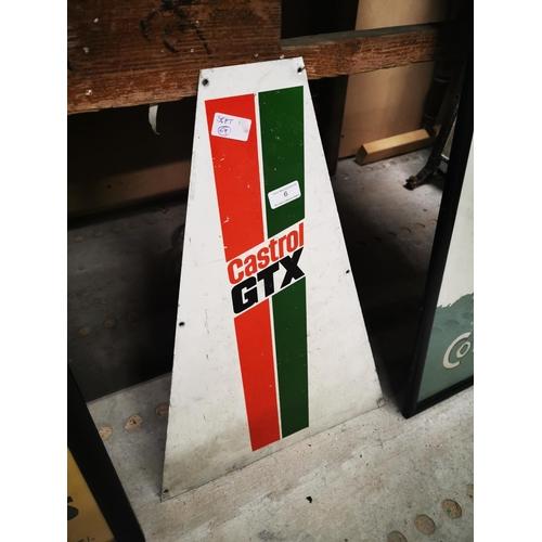 6 - Castrol GTX aluminium advertising sign. {  58cm H X 41cm W }....