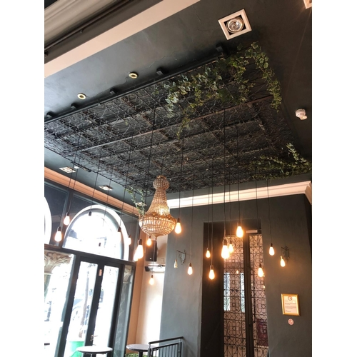 21 - Wrought iron ceiling decoration complete with LED lights W 310cm L 310cm...