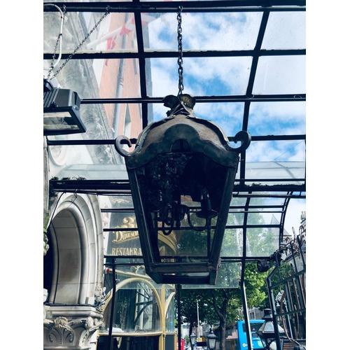 24 - Pair of rustic tapering lanterns W 40cm H 80cm...