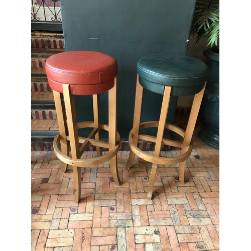 5 - Pair of bentwood tall stools of differing colour W 40cm H 85cm...