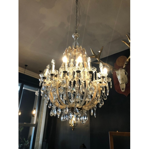 56 - French glass and crystal centre chandelier W 70cm H 110cm...