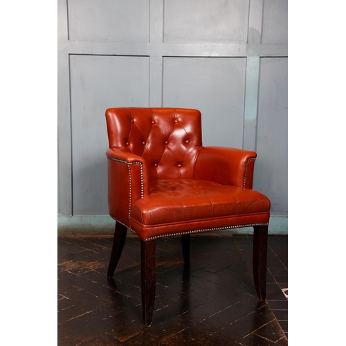 57 - Superb quality pair of deep buttoned upholstered armchairs W 65cm H 85cm D 60cm...