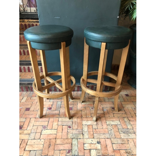 6 - Pair of green bentwood tall stools matching in colour  W 40cm H 85cm...