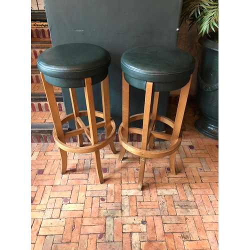 7 - Pair of green bentwood tall stools matching in colour W 40cm H 85cm...