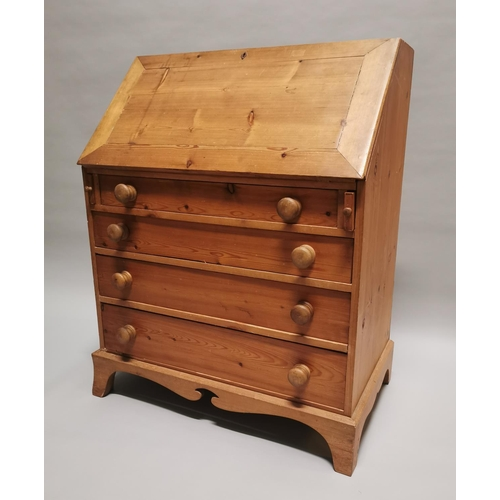 1 - Early 20th C. stripped pine bureau chest of drawers with fitted interior {109 cm H x 85 cm W x 57 cm...