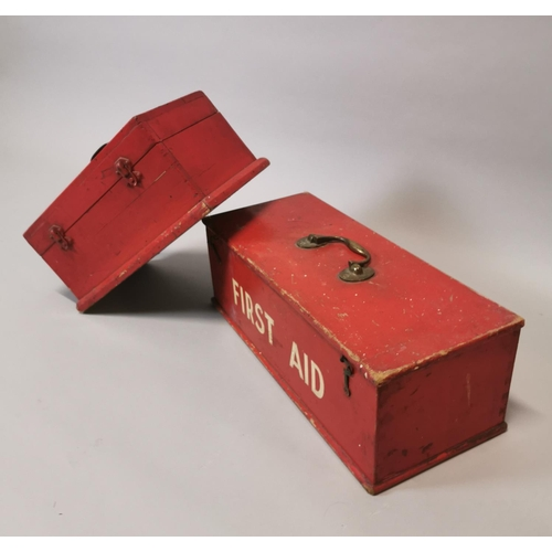 10 - Two early 20th C. painted pine explosive and first aid boxes {19 cm H x 54 cm W x 22 cm D and 18 cm ...