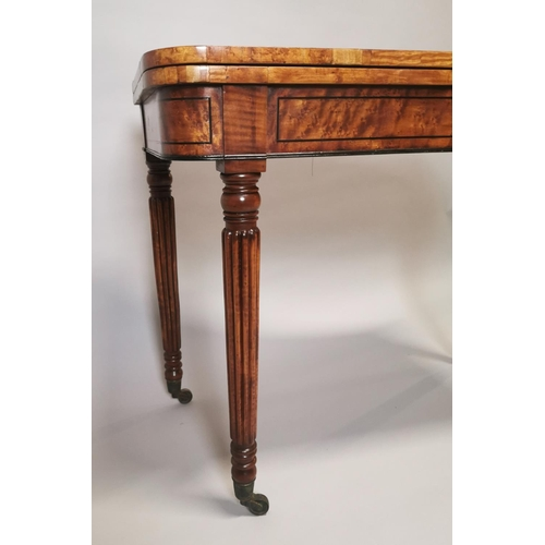 11 - Good quality William IV burr walnut with ebony inlay turn over leaf card table on reeded legs and br...