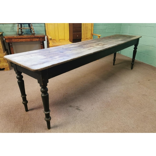 15 - 19th C. painted pine kitchen table the scrubbed top raised on turned legs. {76 cm H x 275 cm L x 66 ...