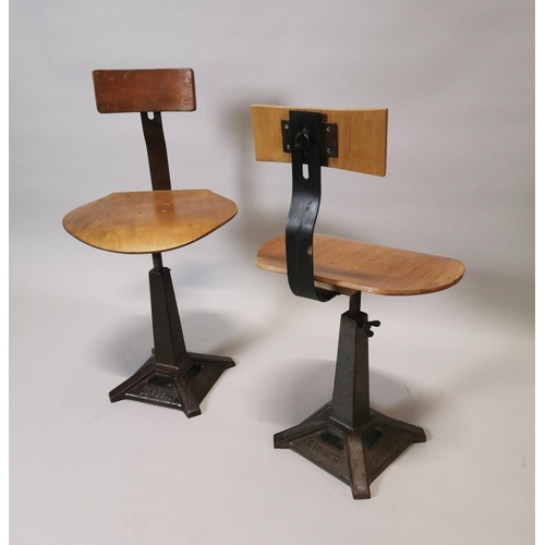 17 - Pair of early 20th C. Singer machinist's chairs {87 cm H x 45 cm W x 41 cm D}....