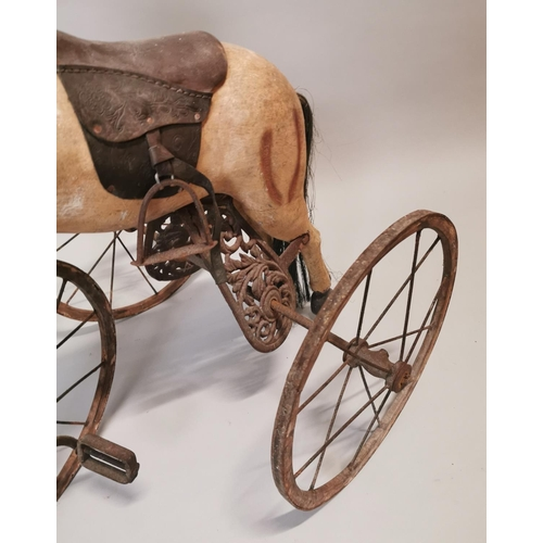 18 - Early 20th C. Child's pedal horse {84 cm H x 83 cm W x 62 cm D}.