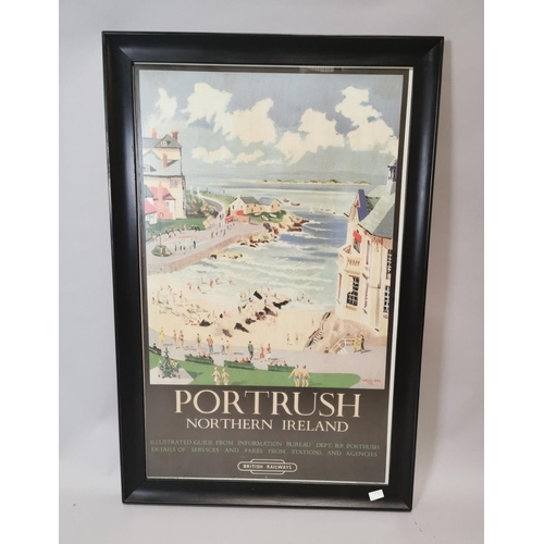 19 - Framed Northern Ireland travel advertising print depicting Portrush {121 cm H x 80 cm W}....